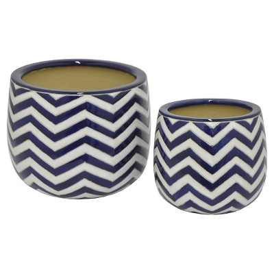 "Three Hands Ceramic Planter set of 2 -Blue (13.3"")"