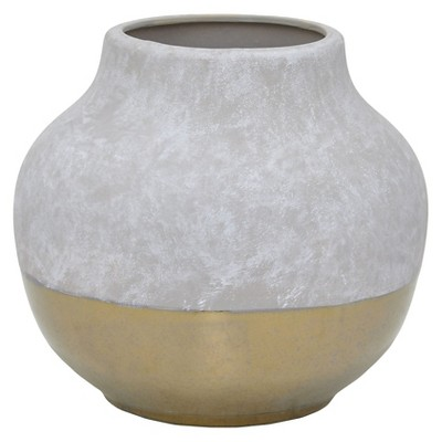 "Three Hands Ceramic Vase - Gray/Gold (8.25"")"