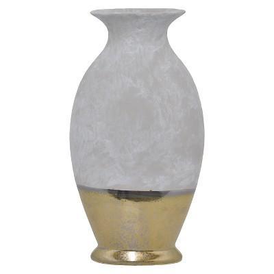 "Three Hands Ceramic Vase - Gray/Gold (14.5"")"