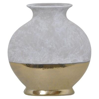"Three Hands Ceramic Vase - Gray/Gold (12"")"