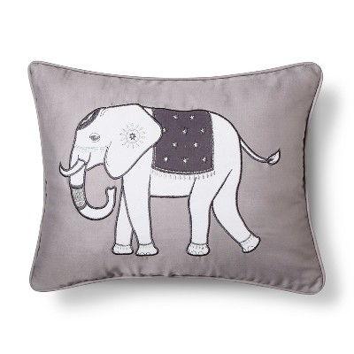 Cresta Elephant Applique Decorative Pillow 18x18 Grey - homthreads™