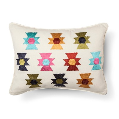 Zorada Embroidered Aztex Decorative Pillow 14x18 Multicolored - homthreads™