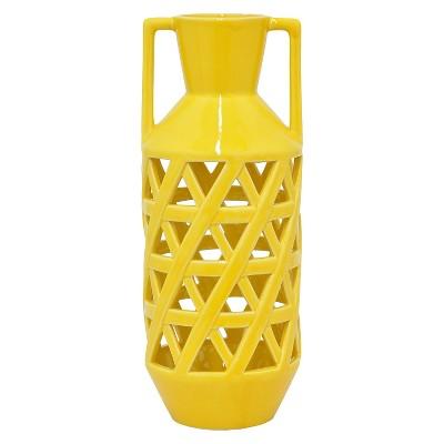 "Three Hands Ceramic Vase - Yellow (16"")"