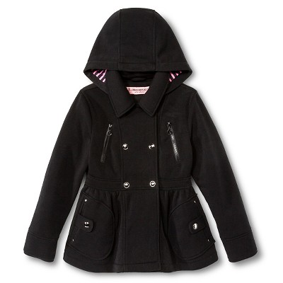 Baby Girls' Urban Republic Double Breasted Fleece Hooded Jacket Black 12M
