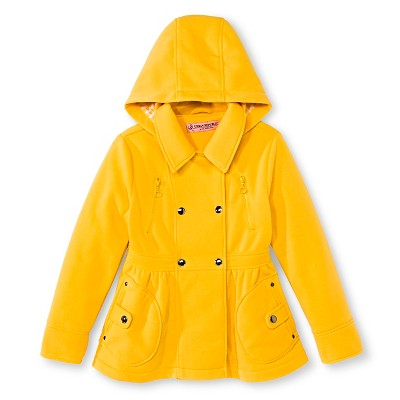 Baby Girls' Urban Republic Double Breasted Fleece Hooded Jacket Mustard 12M