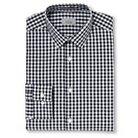Haggar H26 - Men's Slim Fit Spread Collar Dress Shirt Black Gingham Plaid