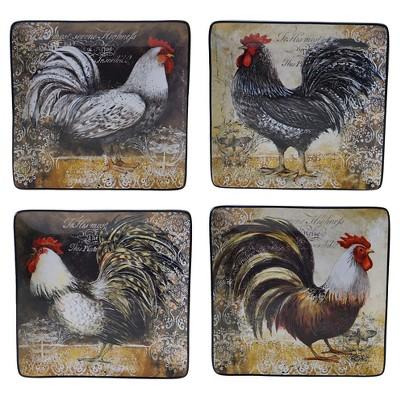 "Certified International Vintage Rooster Set of 4 Dinner Plate (10.25"")"
