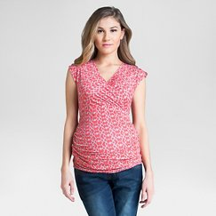 Maternity Surplice Top Coral/Beige - Expected by Lilac