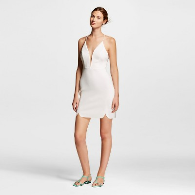 Women's Strappy Sheath Dress with Plunging Neckling  White L - Renn