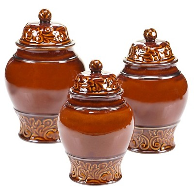 Certified International Solstice Brown Canister Set 3 pc. (52, 76, 110 oz.)