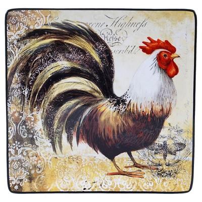 """Certified International Vintage Rooster Square Platter (12.25"""")"""