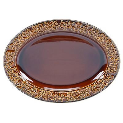 "Certified International Solstice Brown Oval Platter (16"" x 12"")"