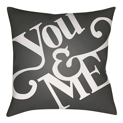 "Romantic Comedy Throw Pillow - Black - 18"" x 18"" - Surya"