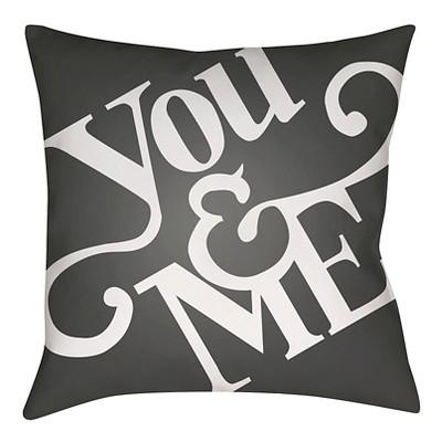 "Romantic Comedy Throw Pillow - Black - 18"" x 18"" - Surya"