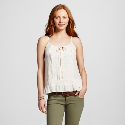Women's Woven Crochet Cami White XXL - Mossimo Supply Co.™ (Juniors')