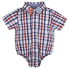 G-Cutee® Baby Boys' Checkered Shirt with Star Bowtie - Red/Blue 12-18 M