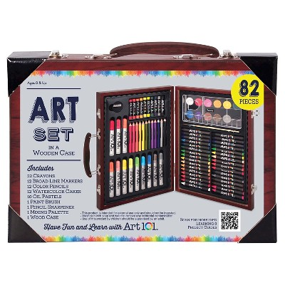 Art Set in a Wooden Case, 82 pieces - Art101