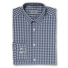 Haggar H26 - Men's Slim Fit Spread Collar Dress Shirt Navy Gingham Plaid 14.5 / 33