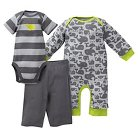 Gerber® Newborn Boys' Whale 3 Piece Coverall, Bodysuit & Pant Set - 3-6M Gray/Stripe