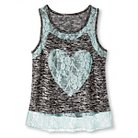 Girls' Miss Chievous Lace Heart Tank Top- Black M