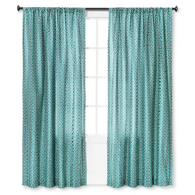 "Mudhut™ Kamala Geo Curtain Panel - Blue (55""x84"")"