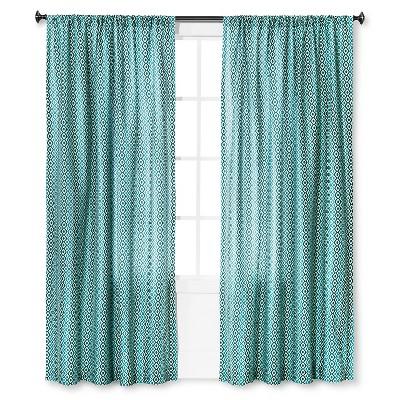"""Mudhut™ Kamala Geo Curtain Panel - Blue (55""""x84"""")"""