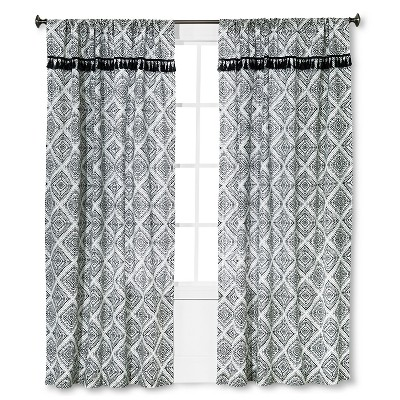 "Mudhut™ Masai Tassel Curtain Panel - Blue (55""x84"")"