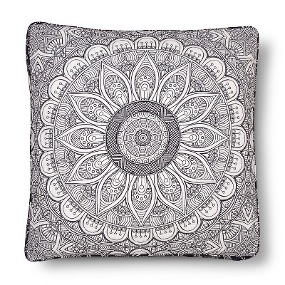 Maison Flower Floor Pillow Black (26x26) - Mudhut™