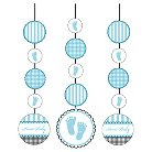 Baby Shower Blue Hanging Cutouts - 3 count