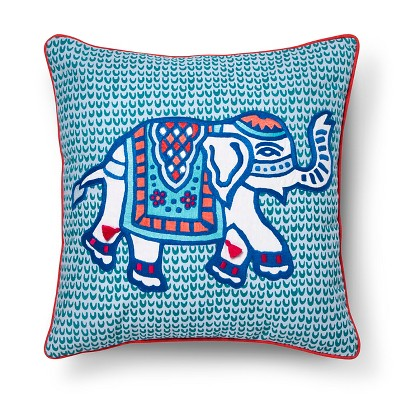 Elephant Toss Pillow 18x18 Inch - Blue - John Robshaw®