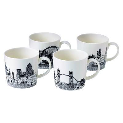 Royal Doulton Charlene Mullen London Calling Mugs, Set of 4