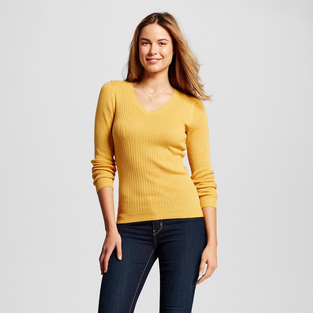 Women's V-Neck Ribbed Pullover Beeswax XS - Merona