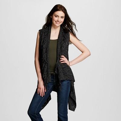 Women's Fringe Sweater Vest Black S - Mossimo Supply Co.™ (Juniors').