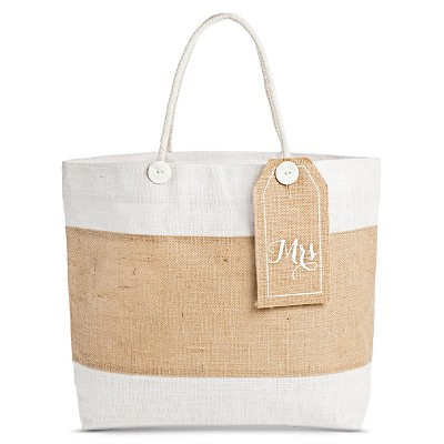 "Women's Tote Handbag with Removable ""Mrs."" Tag - Beige"