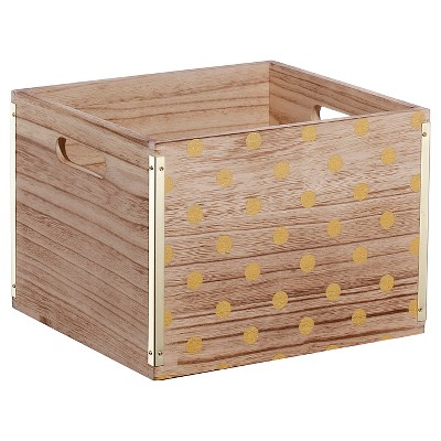 Room Essentials™ Wood Small Milk Crate - Gold Dot