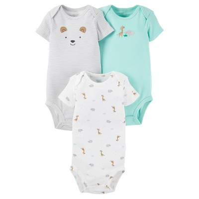 Baby 3 Pack Short Sleeve Animal Bodysuit Set Tan/Grey 9M - Just One You™Made by Carter's®