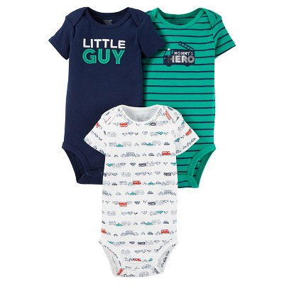 Baby Boys' 3 Pack Short Sleeve Little Guy Bodysuit Set NB - Just One You™Made by Carter's®