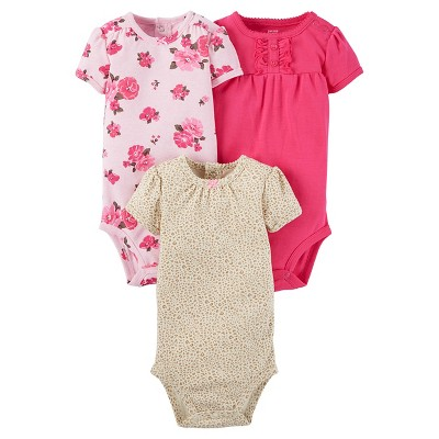 Baby Girls' 3 Pack Short Sleeve Floral Bodysuit Set Pink 12M - Just One You™Made by Carter's®