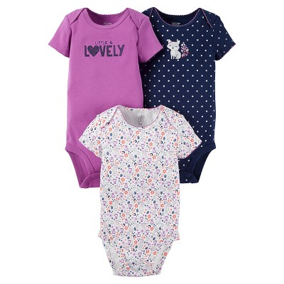 Baby Girls' 3 Pack Short Sleeve Fox Bodysuit Set Purple 3M - Just One You™Made by Carter's®