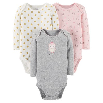 Baby Girls' 3 Pack Princess Owl Bodysuit Set Grey NB - Just One You™Made by Carter's®