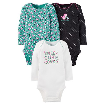 Baby Girls' 3 Pack Floral Bodysuit Set Mint/Ivory 6M - Just One You™Made by Carter's®
