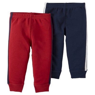 Baby Boys' 2 Pack Stripe Pants Burgundy 9M - Just One You™Made by Carter's®