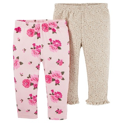 Baby Girls' 2 Pack Floral Pants Pink 12M - Just One You™Made by Carter's®