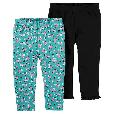 Baby Girls' 2 Pack Mint Floral and Black Pants 12M - Just One You™Made by Carter's®