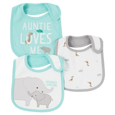 Baby Boys' 3 Pack Bib Elephant  - Just One You™Made by Carter's®