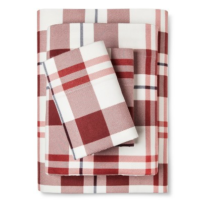 Flannel Sheet Set (King) Red and Blue Plaid - Threshold™