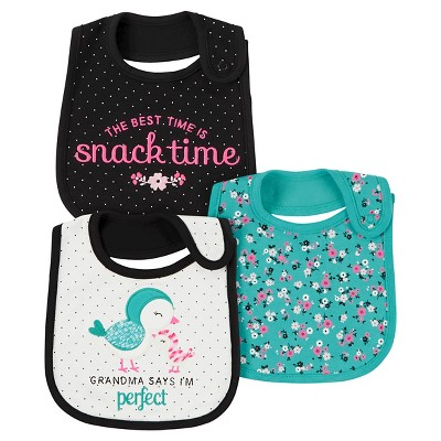 Baby Girls' 3 Pack Bib Mint Bird Grandma  - Just One You™Made by Carter's®