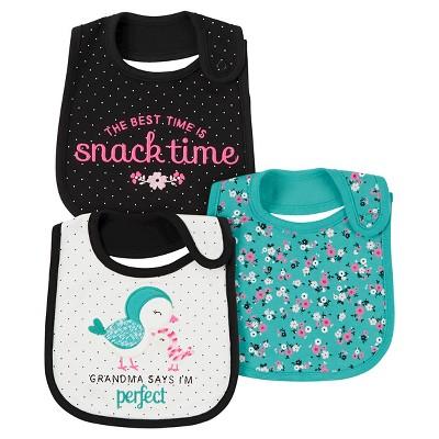 Baby Girls' 3 Pack Bib Mint Bird Grandma  - Just One You™Made by Carter's®
