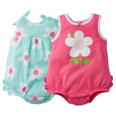 Gerber® Newborn Girls' 2 Pack Daisies Sunsuit Set - 0-3M Pink/Mint Green