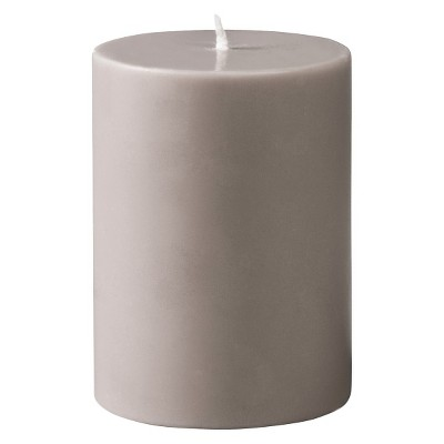 "Torre & Tagus Prime Palm Wax Pillar Candle - Warm Grey (3x4"")"